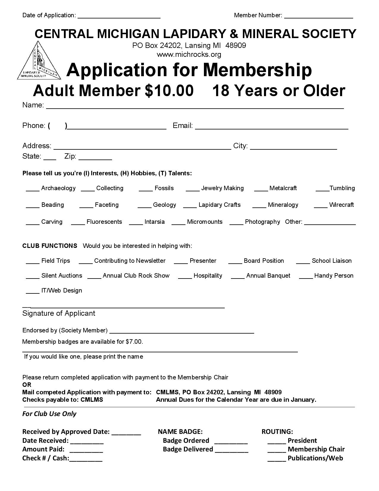 Membership Application - Adult