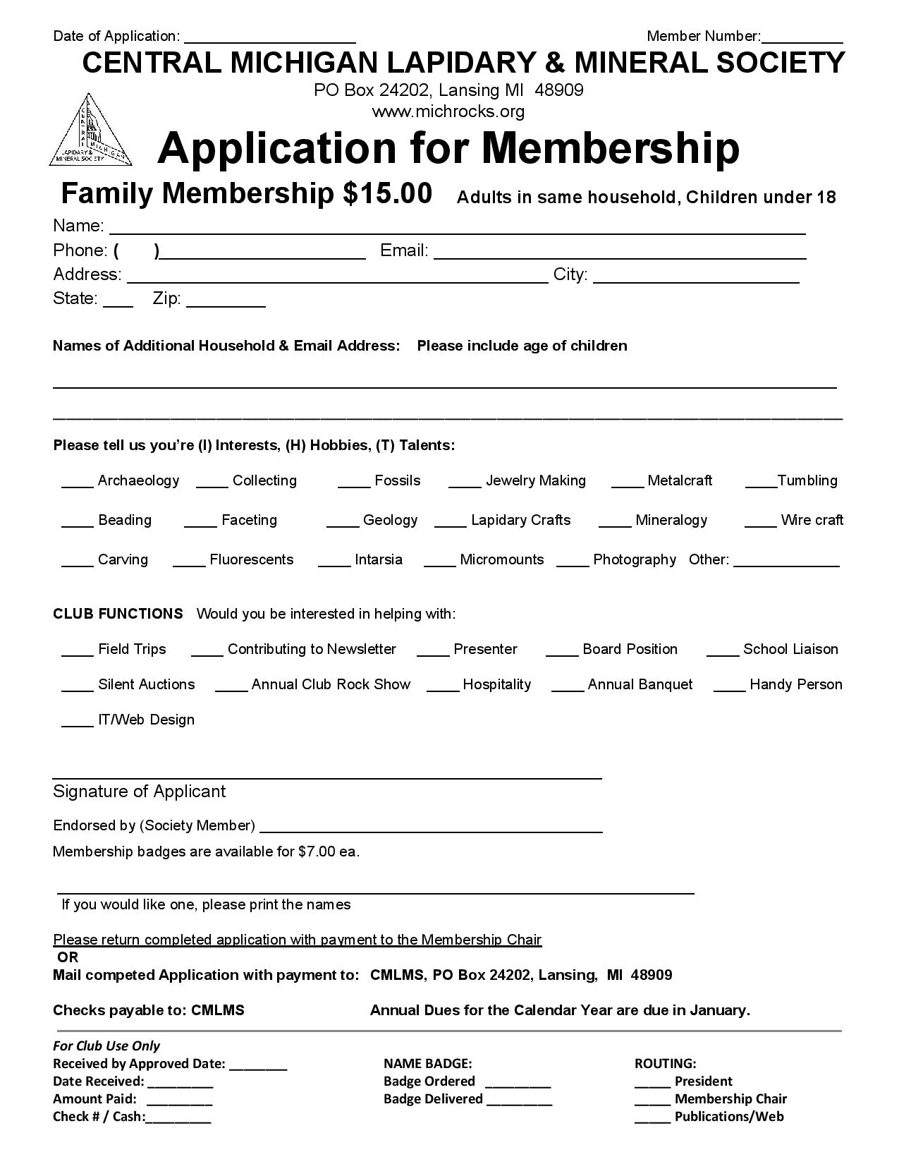 Membership Application - Family