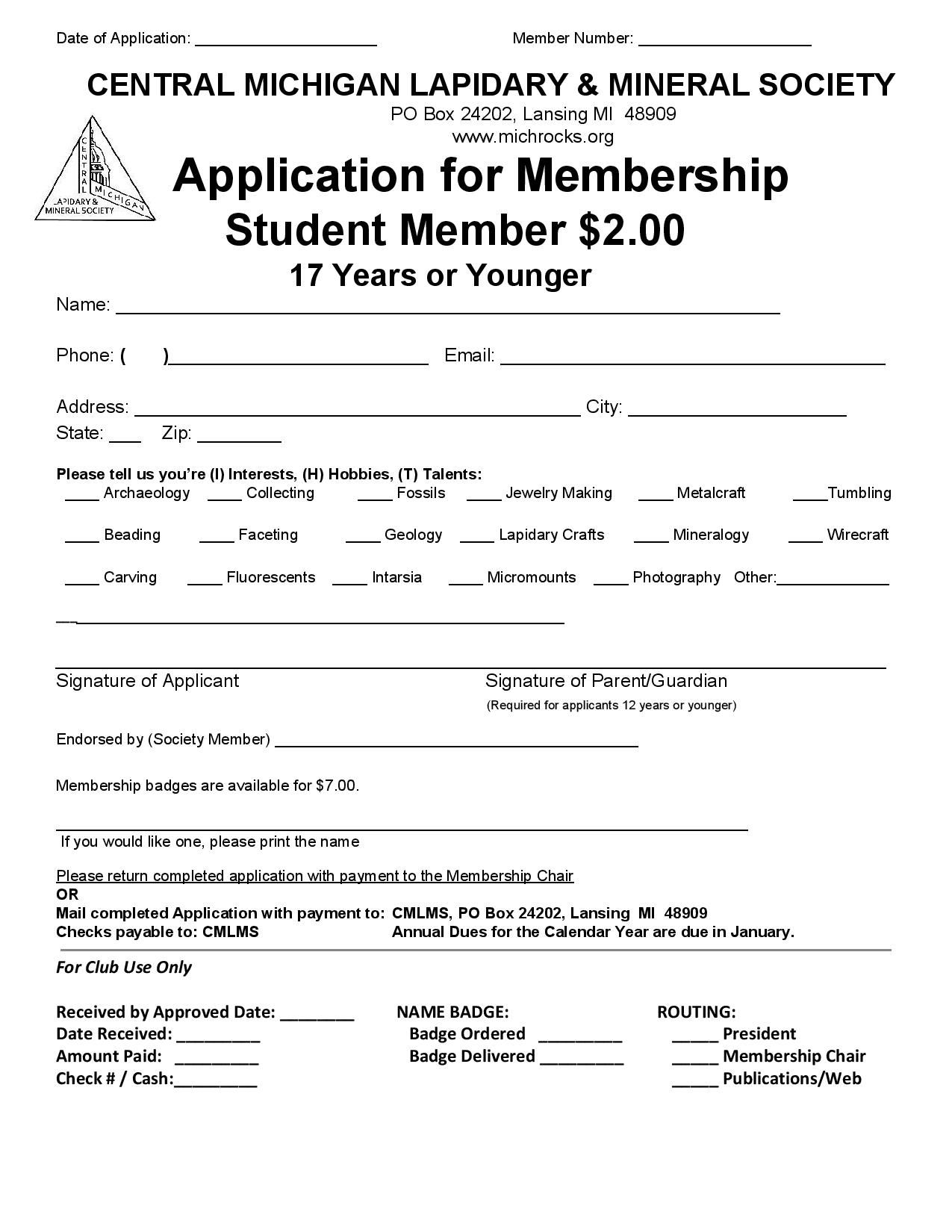 Membership Application - Student